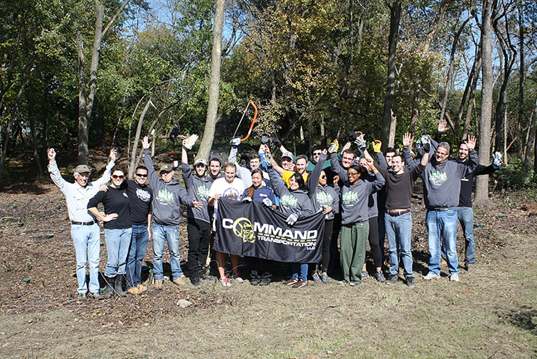 company sponsor volunteer day at backyard nature center